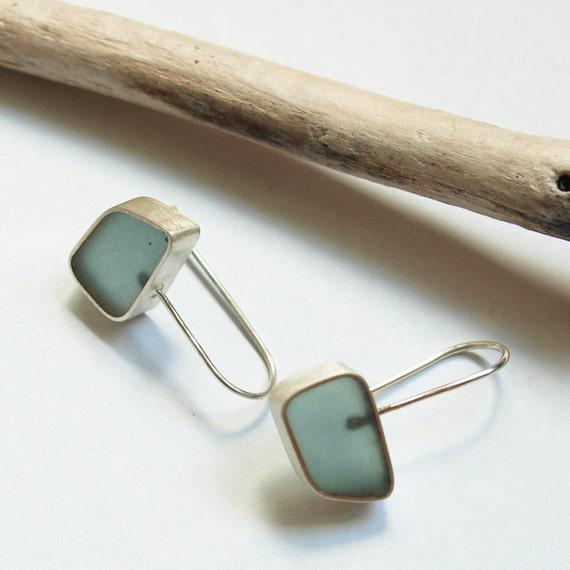 ocean water resin earrings - sterling silver