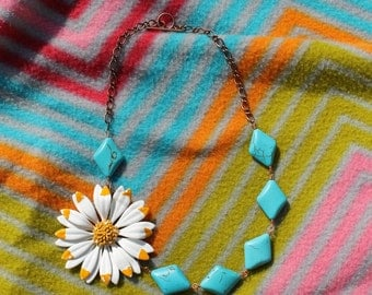 Teal and Yellow Tribal Daisy necklace