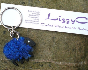 Hand-crafted LizzyC Sheep Keyring - Bonnie Blue