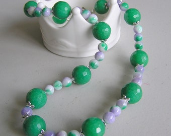 Ancient Eye Candy (Necklace of Candy Jade and Large Faceted Green Jade)