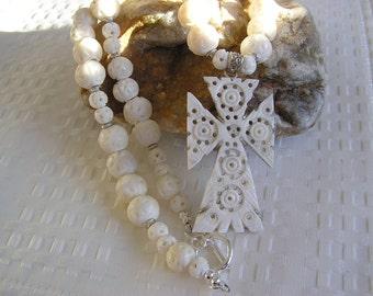 Camel Bone Hand Carved Cross Necklace