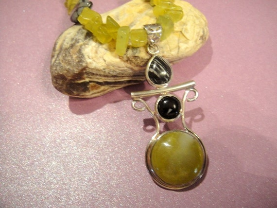 Monlight Becomes You Lemon Citrine and Snowflake Obsidian Necklace