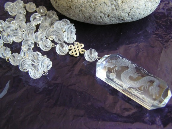 See Through  Dragon (Carved Quartz Dragon Necklace)