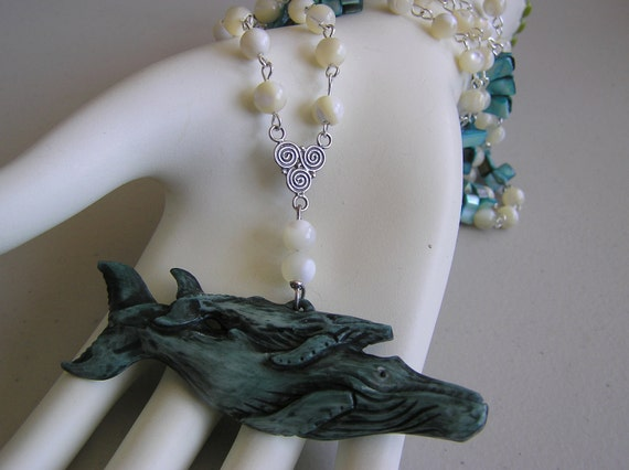 Mommy and Me (hand carved bone Whales Necklace)
