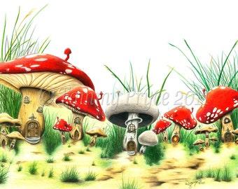 Mushroom Village Fantasy Fairy Tale 8x10 Fine Art Print