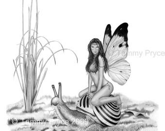 "Fairy on Snail Pencil Fantasy Drawing 8x10"" Fine Art Print"
