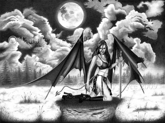 """Demon Gothic Dark Fairy 8x10"""" Fine Art Print"""