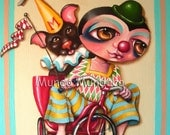 Let's Go Dog in the Bicycle with Clown       impression of the original painting cut of Yasmin Mundaca ilustrator