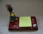 Blue Bird on Red Base Card / Post-it Note Holder 1009 - ***ON SALE****Custom Pieces Available Upon Request