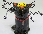 Ceramic Black Kitty Figurine Item 1090 - Custom Pieces Available Upon Request