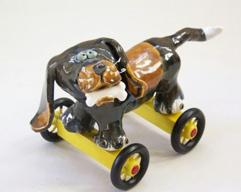 BARNEY - ON SALE - Ceramic Dog Sculpture with Bone - Custom Pieces Available Upon Request
