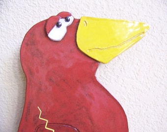 Red Bird Clock with Brown Worm Pendulum Item C1057 - Custom Pieces Available Upon Request