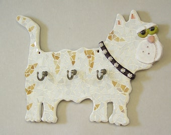 Mosaic White and Tan Striped Cat Key Holder Item KH1062