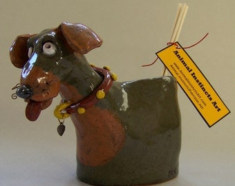 ON SALE - Ceramic Dog Oil Reed Diffuser Item V 1075 - Custom Pieces Available Upon Request