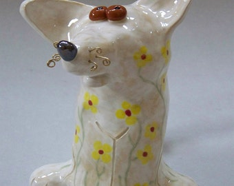 TOPPER - White Flowered Patterned Dog - Custom Pieces Available Upon Request