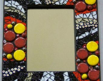 Zebra Striped Mosaic Mirror Frame  Item M1123