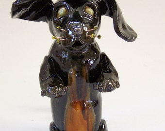 ON SALE - Black Doxie Dog Candle Holder Item 1120 - Custom Pieces Available Upon Request