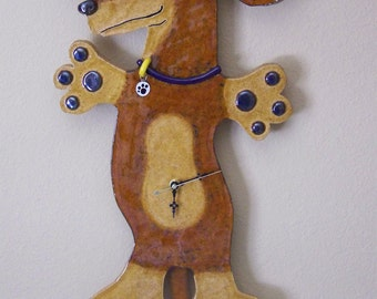 Short Haired Amber Dachshund Pendulum Clock Item C1117 - Custom Pieces Available Upon Request