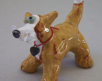 Little Brown & White Dog Sculpture Item 1140 - Custom Pieces Available Upon Request