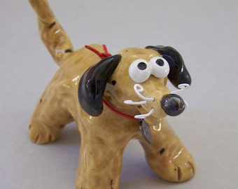 Little Tan and Black Dog Sculpture Item 1138 - Custom Pieces Available Upon Request