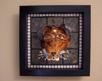 FOXY TERROR - On SALE - Mosaic Smooth Fox Terrier Dog Mask - Custom Pieces Available Upon Request