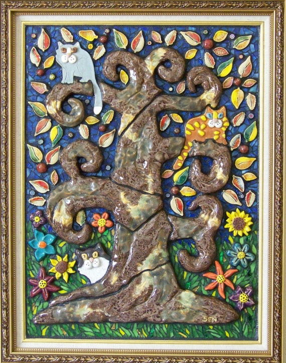 TREE BARK and CLAWS - Mosaic Cat Picture - Custom Pieces Available Upon Request