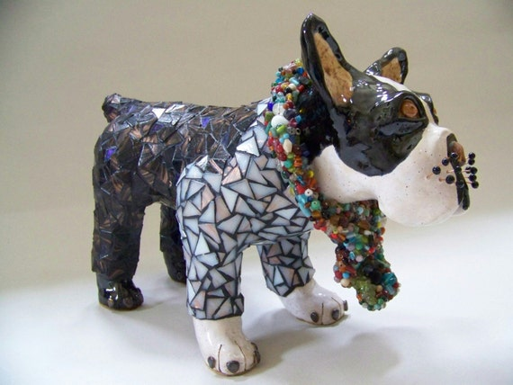 CHIPPER - ON SALE - Boston Terrier Dog Sculpture - Custom Pieces Available Upon Request
