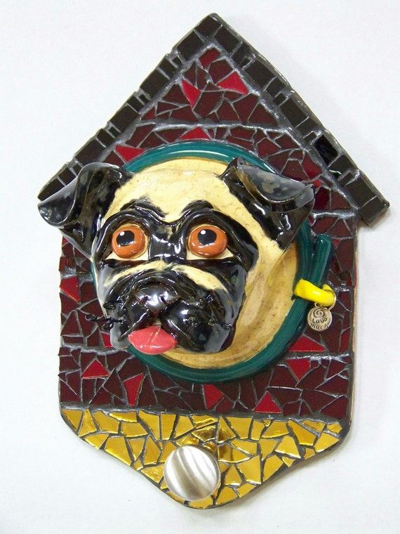 ON SALE - Handmade Pug Dog Leash Holder Item LH1029 - Custom Pieces Available Upon Request