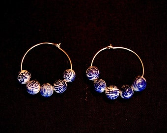 Asian Inspired Hoop Earrings