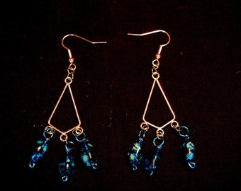 Painted Glass Chandelier Earrings