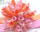 Raspberry Tangerine Blossoms Boutique Baby Girl Korker Hair Bow Shimmery Elastic Headband