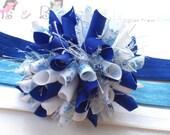 Blue SnowFlake Twinkle Boutique Baby Girl Korker Hair Bow Shimmery Elastic Headband