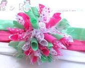 Strawberry Mint Polka Dot Boutique Baby Girl Korker Hair Bow Shimmery Elastic Headband