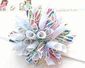 Birthday Blast Colorful Candles Boutique Baby Girl Korker Hair Bow Shimmery Elastic Headband