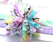 Chocolate Bunny Easter Pastels Boutique Baby Girl Korker Hair Bow Shimmery Elastic Headband