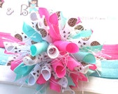 Cookielicious Chocolate Chips Aqua Hot Pink Boutique Baby Girl Korker Hair Bow Shimmery Elastic Headband