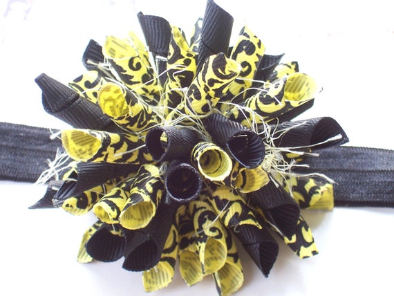 Limoncello Damask Boutique Baby Girl Korker Hair Bow Shimmery Elastic Headband