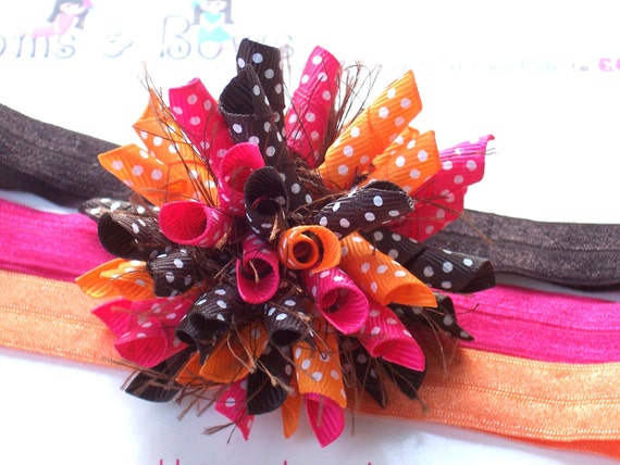 Autumn Pink Boutique Baby Girl Korker Hair Bow Shimmery Elastic Headband M2M