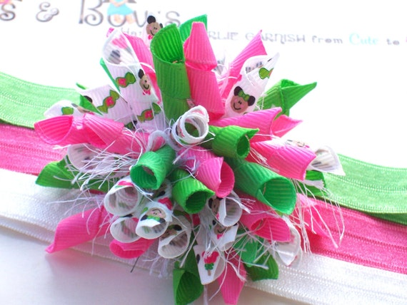 Mickey Minnie Candyland Hot Pink Apple Green Boutique Baby Girl Korker Hair Bow Shimmery Elastic Headband