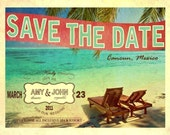 Save The Date - Vintage Postcard-- CUSTOMIZED Digital File- Print As Many Copies As You Want -- One Low Price