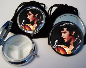 Elvis Presley  Pocket Mirror and Pill Box Set silver tone w pouches