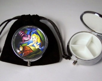 Alice in Wonderland  Pill Box silver tone 3 compartments with a black velour pouch