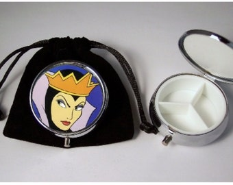 Disney Evil Queen Pill Box silver tone 3 compartments with pouch