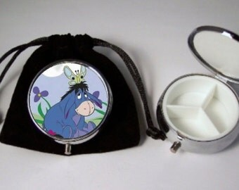 Eeyore Pill Box silver tone 3 compartments with black velour pouch