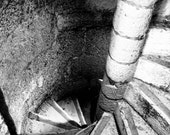 Photograph Black and White Portuguese Spiral Steps Staircase in Belem Lisboa Lisbon Portugal Architecture Vertical Art Print Home Decor