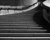 Photograph of Black and White Curve Winding Steps Staircase in Saint Josephs Oratory Travel Montreal Canada Gray Art Print Home Decor