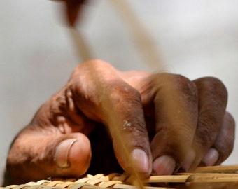 Photograph Bohek Close Up of Tan Brown Wicker Furniture Weaver's Man's Hand Fingers Middle Eastern Vertical Art Print Pakistan Home Decor