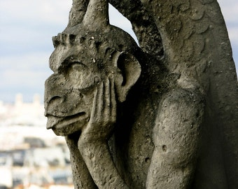 Photograph Gray Parisian Stone Hugo Gargoyle Statue on Notre Dame Cathedral Paris France Gothic French Travel Art Print Home Decor