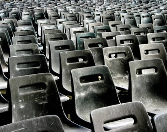 Photograph Rows of Gray Monochromatic Plastic Chairs in St. Peter's Square Vatican City Rome Italy Repetitive Pattern Home Decor Art Print