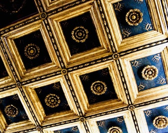 Photograph Abstract Geometric Gold and Black Roman Italian Architectural Ceiling Squares Historic Travel Fine Art Print Home Decor